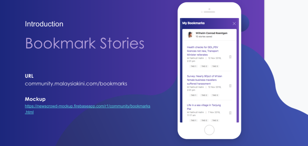 """An image showing a mobile interface of Kini Community's """"Bookmark Stories"""" feature which includes a icon people can click on to save a story to their profiles."""